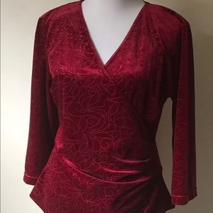 Curvy Couture Tops - Crimson Red Velour Velvet Wrap Beaded Top NWT