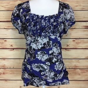 Maurices Tops - Maurices Floral Top Purple Gray Ruffle Ruching XL