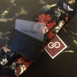 Calvin Klein Other - New Calvin Klein Wallet/Card Holder & Floral Tie