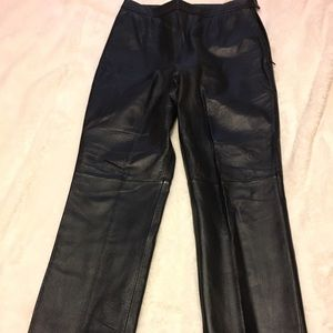 Black, mid rise, bootcut women's leather pants