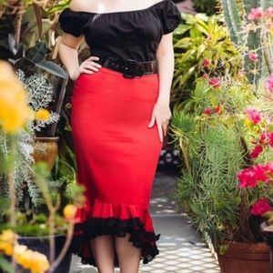 pinup girl clothing  Dresses & Skirts - Deadly dames red flamenco skirt