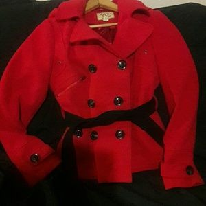 Maralyn & Me Jackets & Blazers - Stunning Red Winter Pea Coat