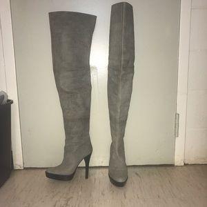 Monika Chiang Shoes - Monika Chiang gray leather thigh high boots