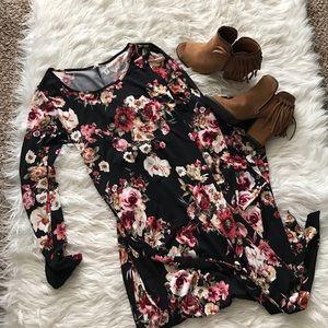 Pinkblush Dresses & Skirts - Black Floral Sash Tie Maternity Maxi Dress