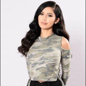 Fashion Nova Tops - Camo Open Shoulder Top