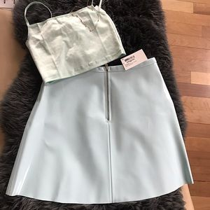 American Apparel Baby Blue Vinyl Skirt Mini Zipper
