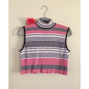 90's Cropped Striped Mock Neck Top 