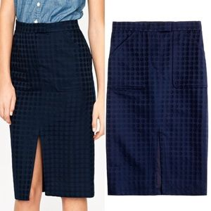 J. Crew Collection Jacquard Dot pencil skirt navy