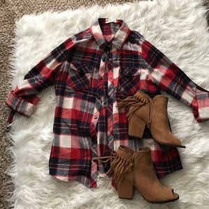 Boheme Tops - Navy, red, and white plaid top