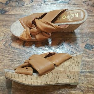 Report Cork & Leather Wedge Shoes