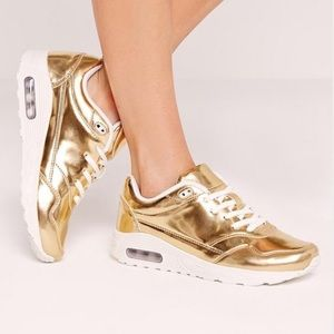 Shoes - gold mirrored lace up bubble detail sneakers