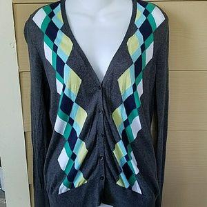 Old Navy argyle grey sweater sz M