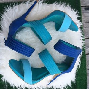 Shoe Republic LA Shoes - Three Shades of Blue Sandal Heels