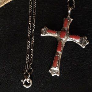 Native Jewelry - Zuni Sterling Cross Necklace