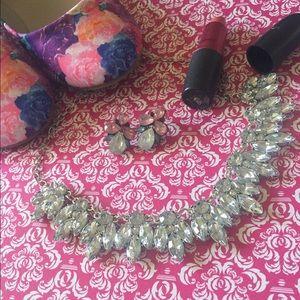  Crystal Rhinestone Bib Statement Necklace 