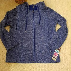green tea Jackets & Blazers - NWT green tea royal blue heathered HOODIE Jkt 2X