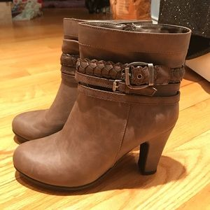 Brown high-heeled ankle boots
