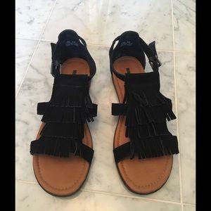 Minnetonka Shoes - Minnetonka Black Suede Fringed Sandals
