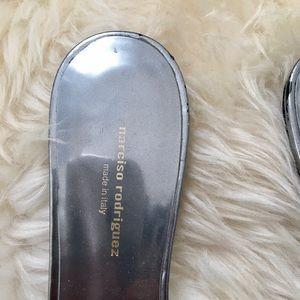 Narciso Rodriguez Shoes - Narciso Rodriguez Silver Athena Mules Flats - 6
