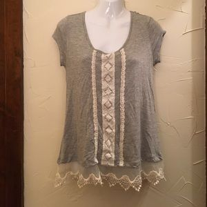 Jolt Tops - Grey short sleeve with Lace detailing from Jolt