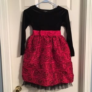 George Other - Girls black and red roses dress size 10