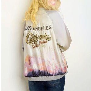 California Silky Satin Oil Spill Bomber Jacket