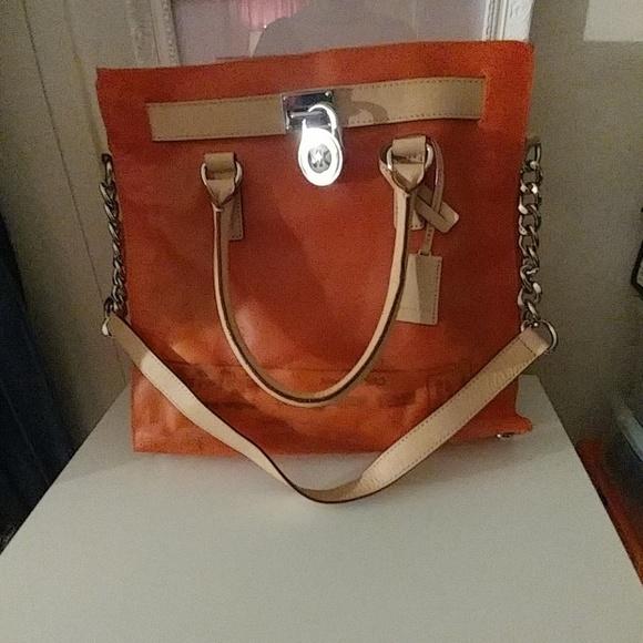 436c04c3db57 Michael Kors Bags | Hotdeal Mk Plastic Orange Bag Leather Trim ...
