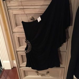 Black one shoulder beaded cut out top small nwt