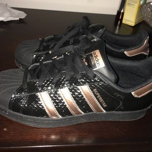 Adidas Shoes - Adidas black and rose gold superstar sneakers