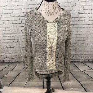 love on a hanger Sweaters - Love on a Hanger Gray Hi Low Sweater Lace Panel M
