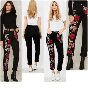 Nasty Gal Denim - ✨NWT✨GLAMOROUS Embroidered jeans