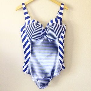 City Chic Other - NWT 18 plus size nautical blue stripe swim suit