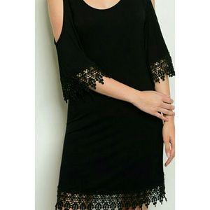 Dresses & Skirts - 🆕 Cold Shoulder Black Dress Lace Trim