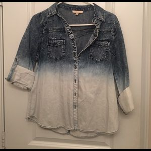 skies are blue Tops - Ombré chambray denim button up shirt
