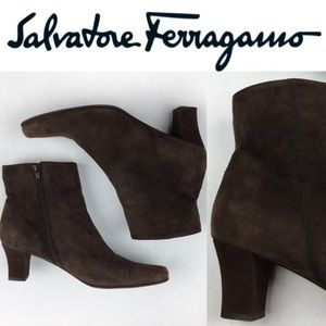 Salvatore Ferragamo Shoes - SALVATORE FERRAGAMO LOGO SUEDe BROWN BOOTS SZ8