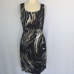 T Tahari Dresses & Skirts - Tahari black and cream animal print sheath dress