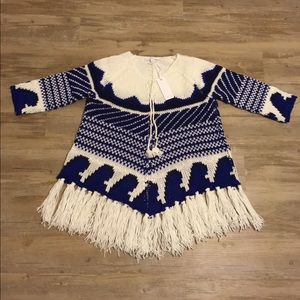 Piperlime Sweaters - Piperlime Blue and White/Ivory Poncho Sweater