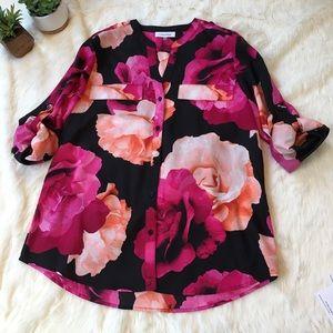 Calvin Klein Tops - Calvin Klein rose print blouse