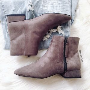 ZARA grey flat ankle boot with side zip
