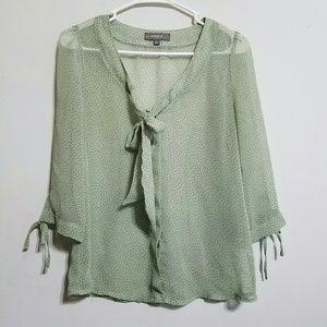 Umgee Tops - Umgee Sheer Polka Dot blouse Sz small