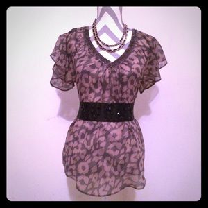 Express sheer leopard print top tunic with beads