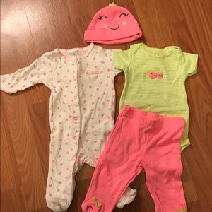 Other - Neon cherries sleeper and outfit. 3 months