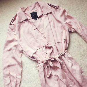 Dusty pink long duster coat