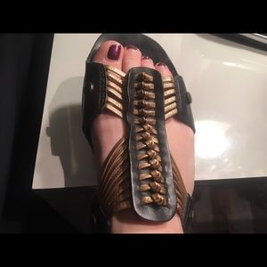 Matisse black and gold leather sandals