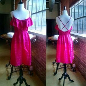 Ali Ro Dresses & Skirts - Ali Ro Pink Silk Cross Back, Ruffle Dress, Size 4