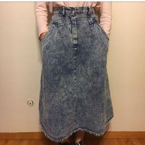 Vintage Dresses & Skirts - Vintage acid washed skirt 80s denim