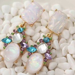 statement crystal dangle drop Earrings opal 