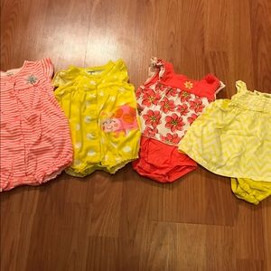 Other - Set of 4 adorable one piece summer rompers. 3 mo