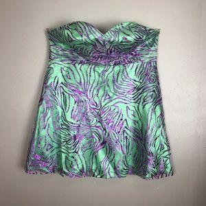 Sydney's Closet Dresses & Skirts - Short green dress with sheer purple zebra overlay