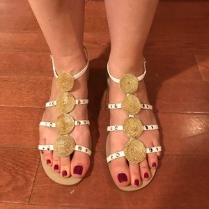 Nine West Strap White and Gold Sandals Size 7